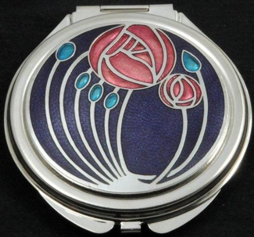 Compact Mirror in a Mackintosh Two Roses Design. (Purple)