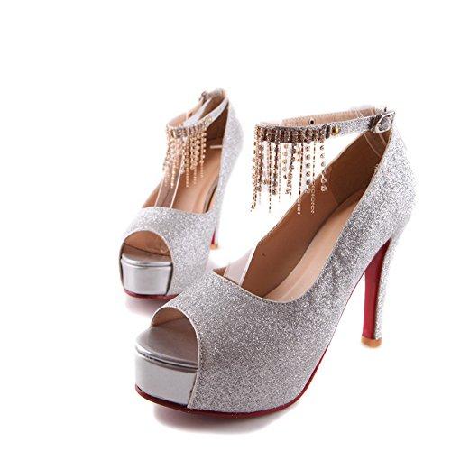 VogueZone009 mit Glasdiamant High Heel Mischungsmaterialien Womens Mattierte Peep Feste Open Toe Plattform Pumps Silber Stiletto ggqTr