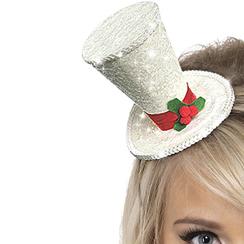 White Mini Top Hat (Mini Top Hat, White, With Glitter, On Headband)