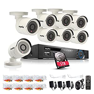 SANNCE Complete 8CH 1080N Surveillance DVR with (8) HD 720P Outdoor Fixed Dome Cameras CCTV Security Camera System, IP66 Weatherproof, Super Day/Night Vision, Remote Access, 1TB HDD Included from ANNKE