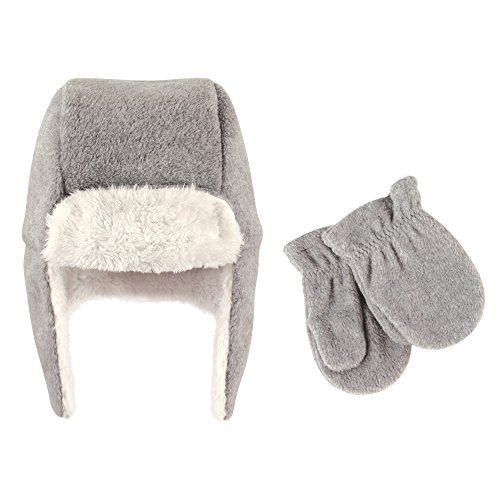 Hudson Baby Baby Fleece Trapper Hat and Mitten, Toddler Heather Gray, 2-Piece Set, 12-18 Months from Hudson Baby