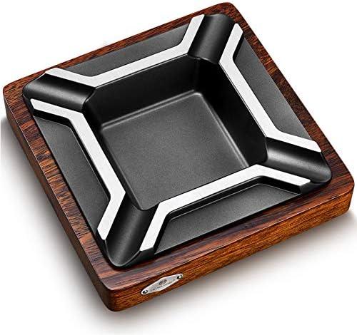 センテニアルシガーウッド葉巻灰皿チタン、ステンレス鋼4スロットシガー灰皿ソリッドウッド灰皿,銀