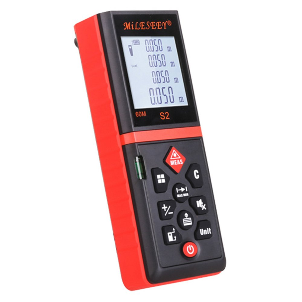 Mileseey S2 Handheld Laser Distance Measuring Meter with Clip and Bubbles, 40m, Red