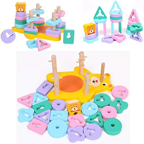 NEEDOON Bear Geometric Stacker Wooden Educational Baby Toy Infant Imagination Sorting Color Shapes for Baby Toddler -