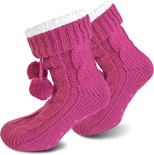 Damen Hausschuhe superweich mit Bommeln und ABS Aufdruck in verschiedenen Farben Magenta Pink
