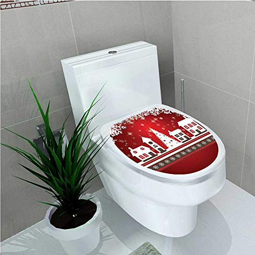 Toilet Seat Wall Stickers Paper Collection Winter Holidays Themed Gingerbread Houses Xmas Tree Lights and Snowflakes Image Red W14 x L16