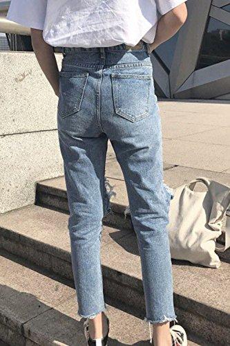Las Alta Mujeres Cintura yulinge Azul Ripped Largos Pantalones Tobillo Denim Jeans UCwZdq