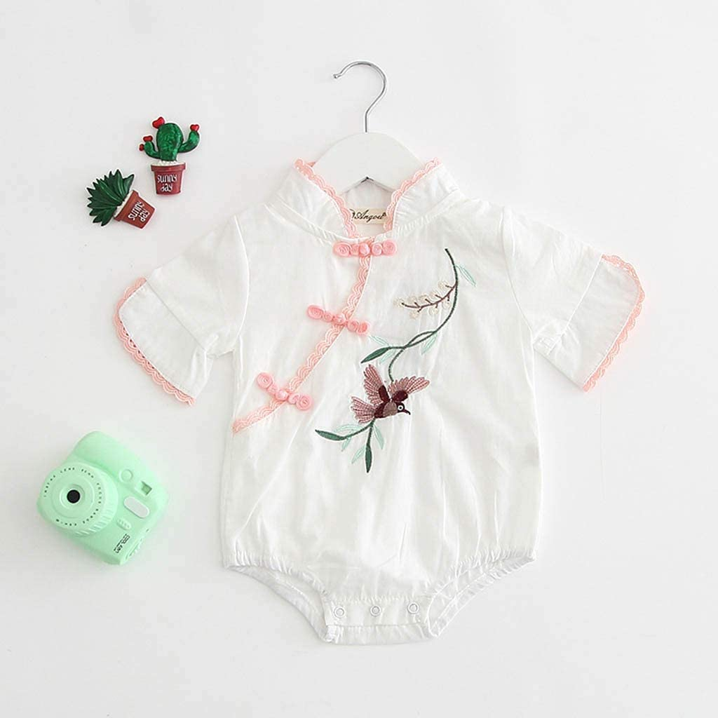 Baby Girl Boy Kid Infant Flowers Birds Embroidery Romper Bodysuit Outfits Lovewe Baby Romper with Chinese Embroidery