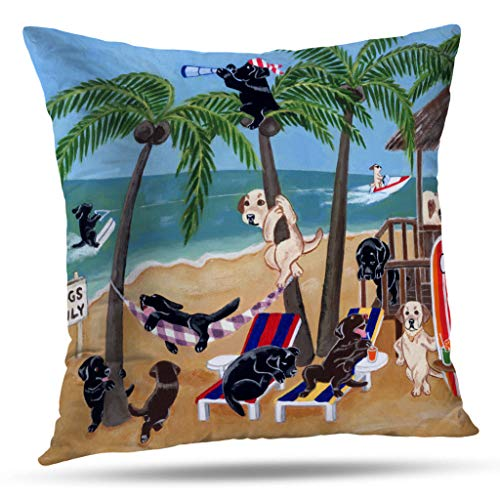 Pakaku Throw Pillows Covers for Couch/Bed 18 x 18 inch,Island Summer Vacation Labradors Home Sofa Cushion Cover Pillowcase Gift Decorative Hidden Zipper Cotton and Polyester Summer Beach Sunlight