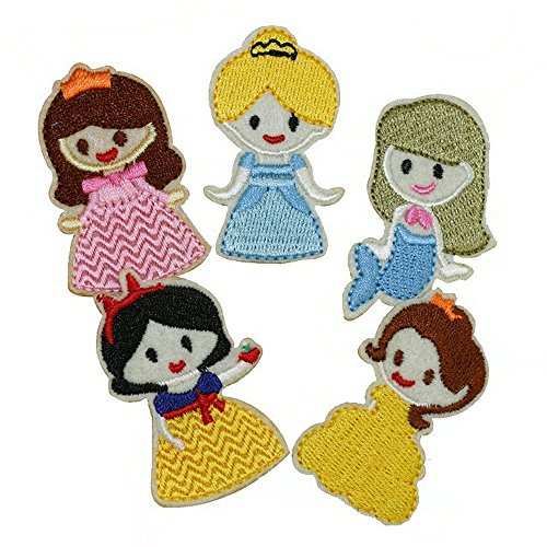 mixed 10 pcs princess Embroidered patches iron on cartoon Motif Applique embroidery - Disney Princess Iron