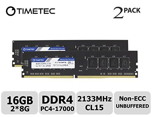 Timetec Hynix IC 16GB KIT(2x8GB) DDR4 2133MHz PC4-17000 Non ECC Unbuffered 1.2V CL15 2Rx8 Dual Rank 288 Pin UDIMM Desktop PC Computer Memory Ram Module Upgrade (16GB KIT (2x8GB))