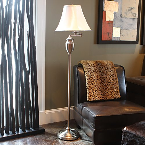 Décor Therapy PL3786 Floor Lamp, Brushed Steel