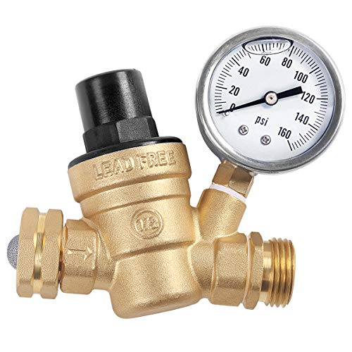 (AECOJOY Water Pressure Regulator Brass Lead Free, NH Thread for RV, Adjustable Plumbing with Guage)