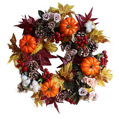 Honfill Vibrant Silk Fall Front Door Autumn Thanksgiving Wreath 17.8 Inches Harvest Foliage Home Decor UV Protected Artificial Outdoor Use Gift Idea Party Halloween Christmas Festival Decor