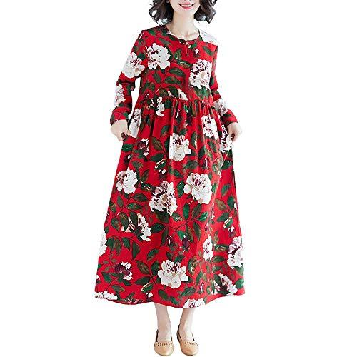 Dimensione Flora Casual Color Medium Rosso Long Abiti Linen Da Donna Wild Stampa Packing Mini Marine Hip Cotton Dress Swing Maxi Solid colore n0xHgFqwE