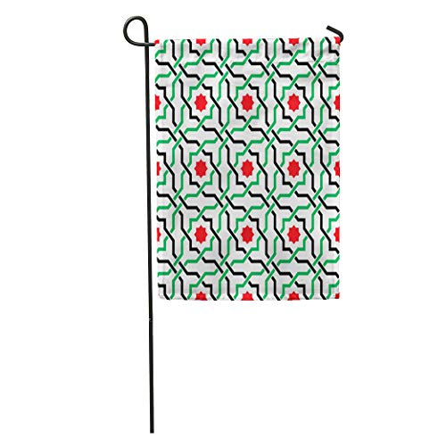 (Semtomn Garden Flag Green of Geometric Pattern in UAE Flag Colors Red Home Yard House Decor Barnner Outdoor Stand 12x18 Inches Flag)