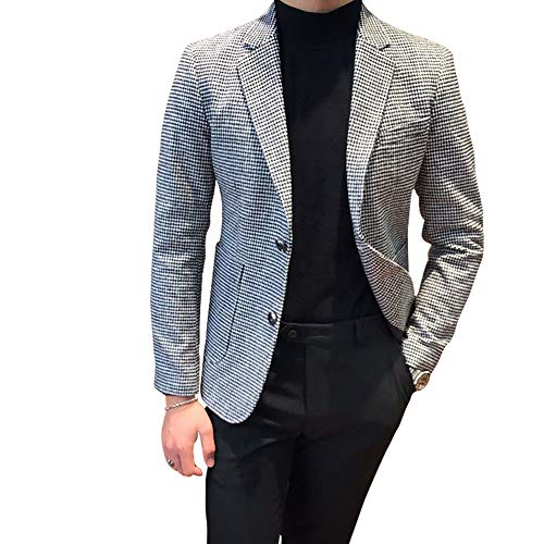 (Houndstooth Grid Plaid Check Tuxedo Dogstooth Suit Business Dress Slim Fit Blazers Jacket Coat)