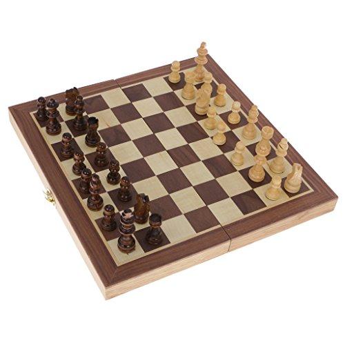 【ノーブランド品】 携帯 木製 折りたたみ チェス ボード チェスセット おもちゃ ギフト 29.5X 14.5cm