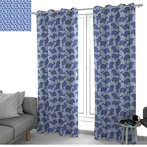 (NUOMANAN Curtains 84 inch Length Whale,Pattern with Cute Cartoon Whales Shoal on Blue Background with Polka Dots,Violet Blue Pale Blue,Modern Farmhouse Country Curtains)