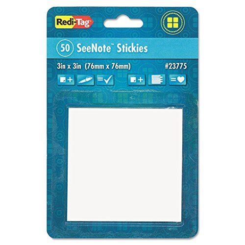 Redi-Tag Transparent Film Sticky Notes, 3 x 3, Clear, Includes One 50-Sheet Pad. -