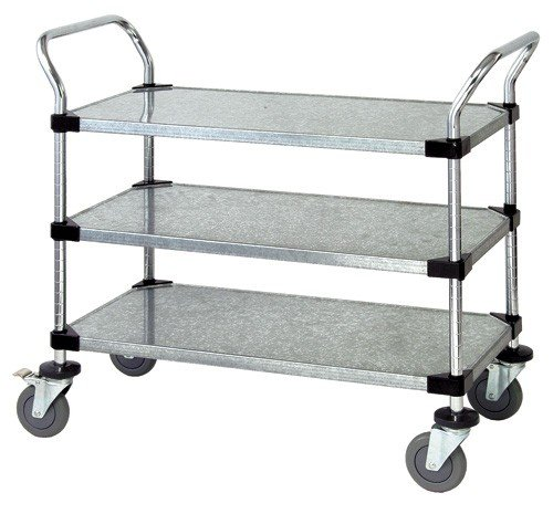 Quantum Storage Systems WRC-2436-2 2-Tier Wire Utility Cart, 2 Wire Shelves, Chrome Finish, 24
