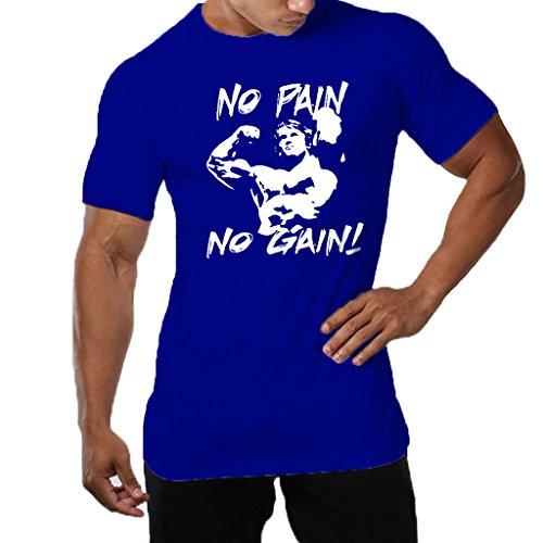Men's Gym NO Pain NO Gain Workout Bodybuilding Causal Muscle Cotton T-Shirt Tee Sportwear-BU-M Blue (Best Gym Exercises For Muscle Gain)