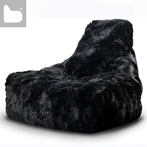 XXL MAMMOTH Sitzsack, echter Schaffell in 4 Farben (schwarz)