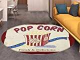 Movie Theater Round Area Rug Carpet Fresh and Delicious Pop Corn Film Tickets and Strip Advertising in 60s Theme Living Dining Room Bedroom Hallway Office Carpet Multicolor