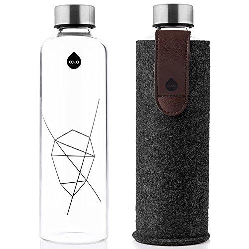 bef019424e EQUA Myequa Glass Bottle with Felt Purse Mismatch Rose Gold Sports Bottle  750 ml Drinks Bottle