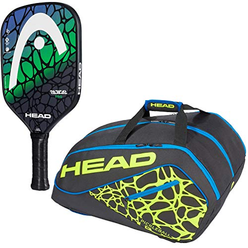 HEAD Radical Pro Composite Blue/Green Pickleball Paddle Starter Kit or Set Bundled with a Black/Neon Yellow/Blue Tour Team Supercombi Pickleball ()