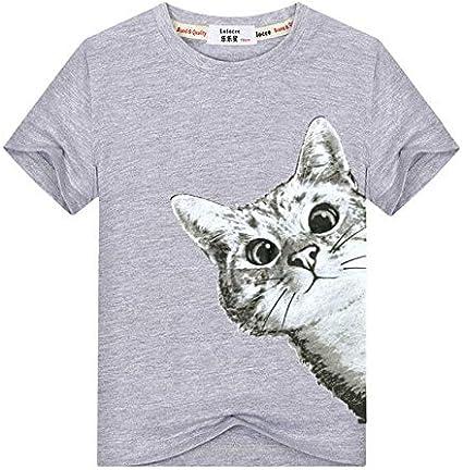 تي شيرتات - تي شيرت أطفال مطبوع عليه Cool Sneaky Cat Kids للأطفال الصغار الأولاد والبنات الصيف طويل الأكمام مضحك القط كول عارضة الأعلى المحملة (رمادي 3T)