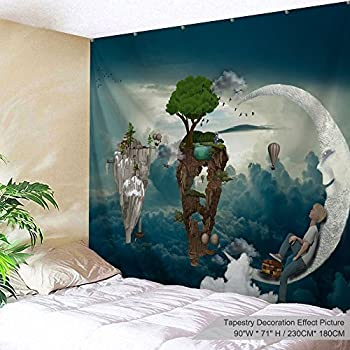 PROCIDA Home Tapestry Wall Hanging Nature Art Polyester Fabric Galaxy Space Theme, Wall Decor for Dorm Room, Bedroom, Living Room, Nail Included - 90