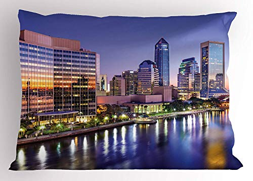 K0k2t0 USA Pillow Sham, Jacksonville Florida City Skyline St. Johns River at Dawn Modern Life, Decorative Standard Queen Size Printed Pillowcase, 30 X 20 inches, Violet Blue Green Marigold ()