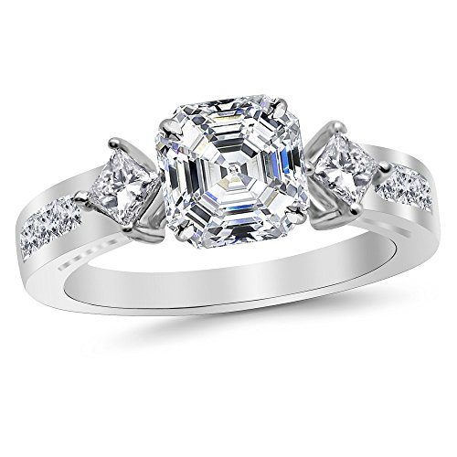 1.85 Ctw 14K White Gold GIA Certified Asscher Cut Channel Set 3 Three Stone Princess Diamond Engagement Ring, 1 Ct D-E VS1-VS2 ()