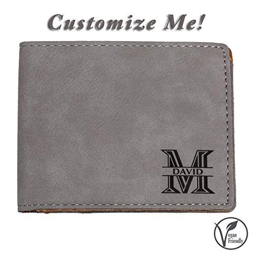 (Emenar Custom Personalized Grey Wallet Vegan Leather Bifold Slim Wallet for Men, Perfect Gift, Gray)