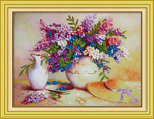 Charming Blossoms (Aureate Handmade Ribbon Embroidery Kits Canvas 3D Wall Art Home Decoration DIY Needlepoint Tapestry Hanging Gift Charming Blossom Vase Artwork 20