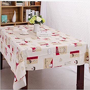 Beau Casual Cloth Printed Cotton Tablecloths , Red , 90*140cm