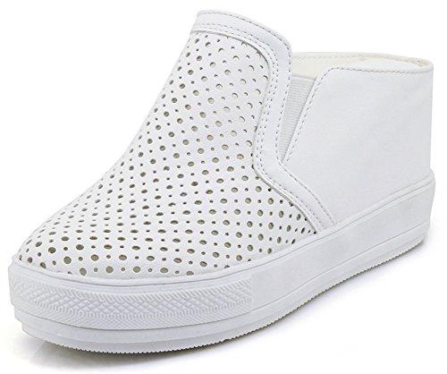Idifu Donna Comoda Tacco Medio Con Zeppa Punta Arrotondata Tira Su Sneakers Basse Scavate Bianche
