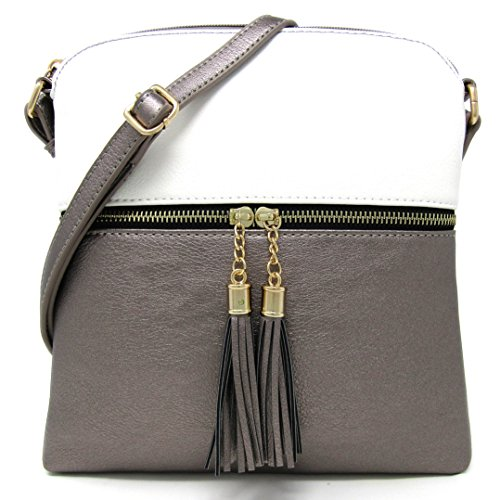 Bag White Faux Adjustable Weight Large Medium Women's Leather Organize Purse Rich Capacity Crossbody and with Pewter Strap Shoulder Light BS5Tq0qx
