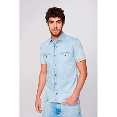 486df1d715 Camisa Jeans Manga Curta Masculina: Amazon.com.br: Amazon Moda