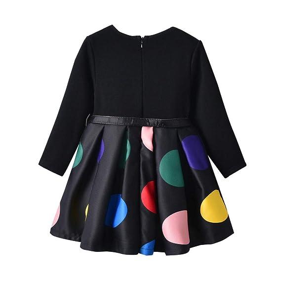 Bestow Vestidos para niñas cinturón de Lunares para niños más Vestido de Terciopelo Vestido de Manga Larga Ropa para niñas: Amazon.es: Ropa y accesorios