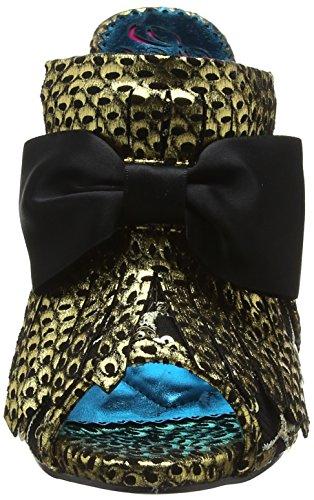 Poetic Gold Moscow de Correa Sandalias Mujer para B Dorado Irregular by con Tobillo Choice Mule Licence Black 6ArTq6