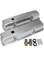1958-86 Chevy Small Block 283-305-327-350-400 Tall Polished Aluminum Valve Covers - Full Finned by CFR Performance - Chevy Valve Covers