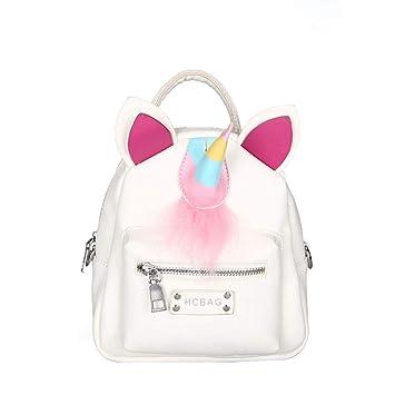 FENICAL Mochila de Cuero de la PU Bolso del Unicornio Bolsas de Escuela de la niña de la Felpa de Moda (Blanco): Amazon.es: Equipaje