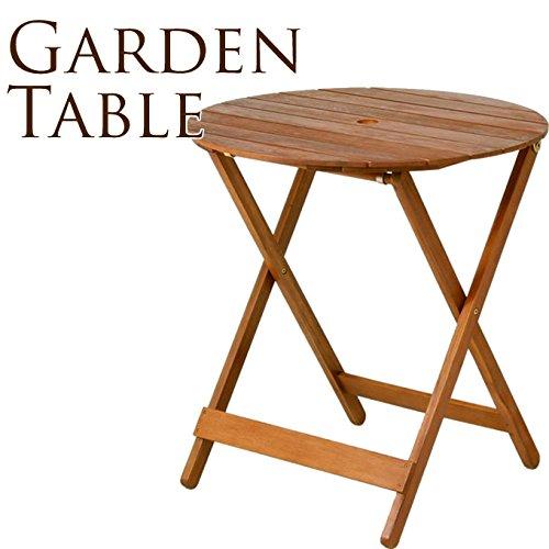 木製ガーデンテーブル 丸型 直径68cm パラソル穴付き B017QX7NH6