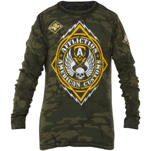 Affliction L/s Tees - L/s Thermal Tee in Military Green Camo By Affliction (M)