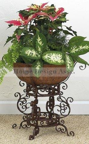 "Wrought Iron SCROLLWORK Floor Planter Flower Pot Stand Holder 17"" Outdoor Patio"