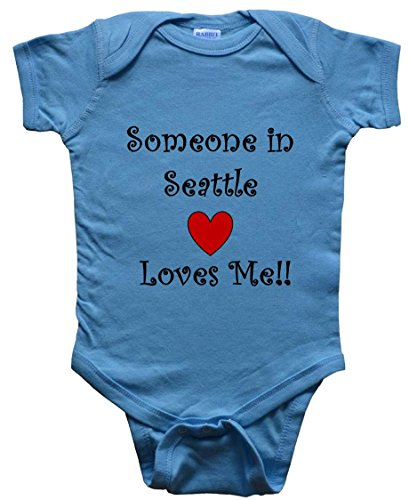 SOMEONE IN SEATTLE LOVES ME - SEATTLE BABY - City-series - Blue Baby One Piece Bodysuit - size Small (6M)]()
