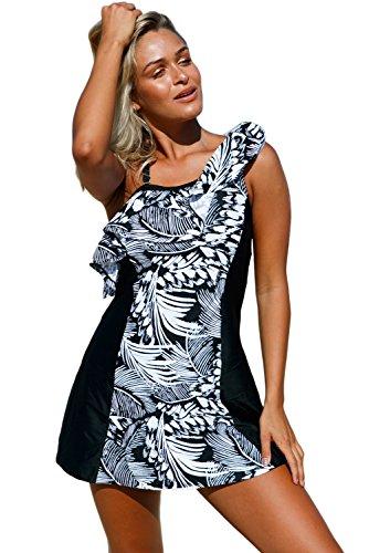 [EnlaChic Women One Shoulder Ruffle Bikini Tankini Swimsuit with Shorts,Black,XL] (Jungle Outfit)