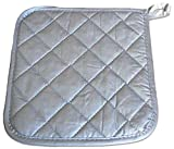 "Custom & Durable {8"" x 8"" Inch} 50 Bulk Pack, Mid Size ""Non-Slip"" Pot Holders Glove Made of Cotton for Carrying Hot Dishes w/ Shiny Quilted Flame Retardant Commercial Style [Silver]"